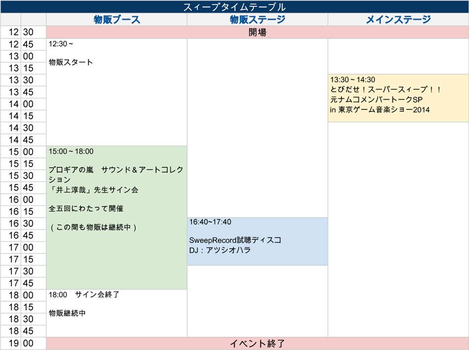 東京ゲーム音楽ショー2014 スィープタイムテーブル